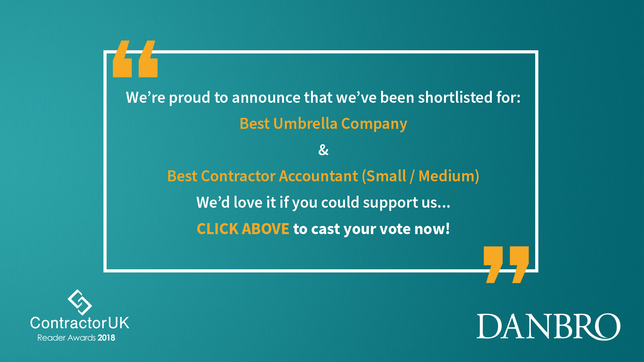 Danbro Nominated for Contractor UK Award