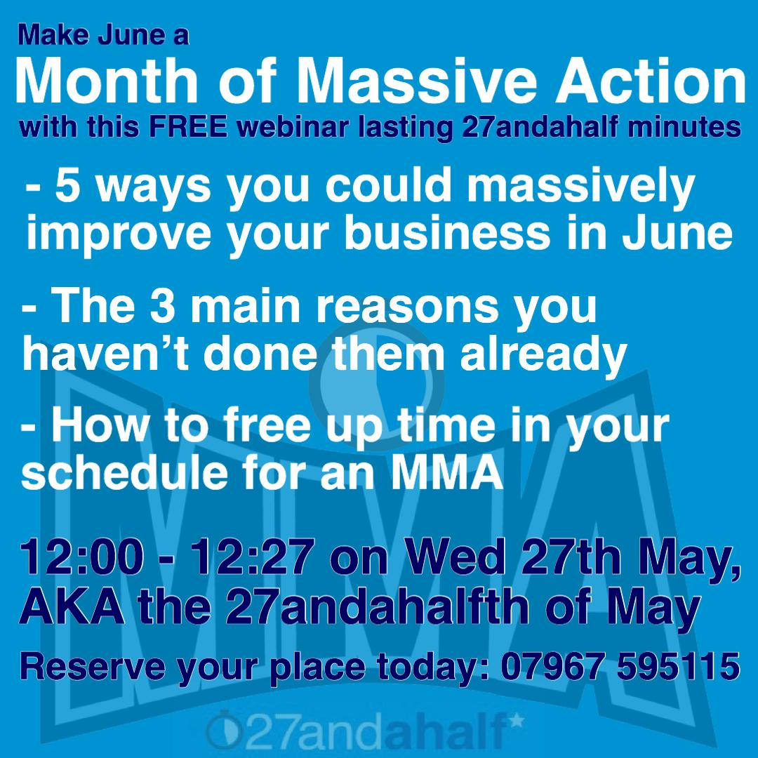 27andahalf launch the MMA - Month of Massive Action