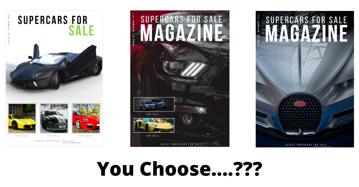 Our Latest SuperCars for Sale Magazine Cover Designs by Shaz at GoRanks.com - Let us know which one you think should be the cover of the new magazine ?